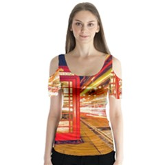 Telephone Box London Night Butterfly Sleeve Cutout Tee