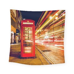 Telephone Box London Night Square Tapestry (small)