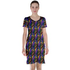 Seamless Prismatic Line Art Pattern Short Sleeve Nightdress
