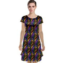 Seamless Prismatic Line Art Pattern Cap Sleeve Nightdress