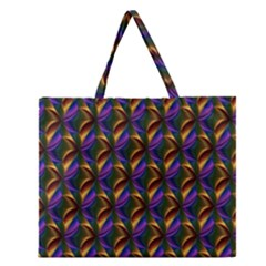 Seamless Prismatic Line Art Pattern Zipper Large Tote Bag