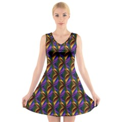 Seamless Prismatic Line Art Pattern V Neck Sleeveless Skater Dress