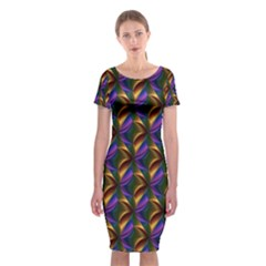 Seamless Prismatic Line Art Pattern Classic Short Sleeve Midi Dress