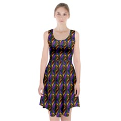 Seamless Prismatic Line Art Pattern Racerback Midi Dress