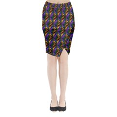 Seamless Prismatic Line Art Pattern Midi Wrap Pencil Skirt