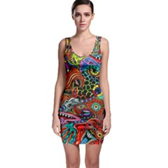 Vector Art Pattern Sleeveless Bodycon Dress