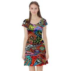 Vector Art Pattern Short Sleeve Skater Dress