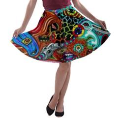 Vector Art Pattern A-line Skater Skirt