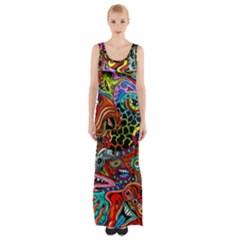 Vector Art Pattern Maxi Thigh Split Dress