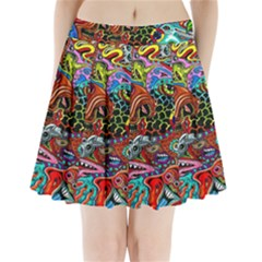 Vector Art Pattern Pleated Mini Skirt