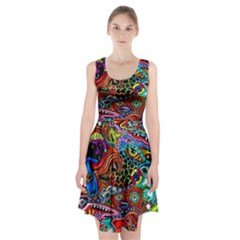 Vector Art Pattern Racerback Midi Dress