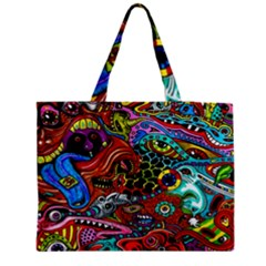 Vector Art Pattern Medium Zipper Tote Bag