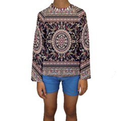 Vectorized Traditional Rug Style Of Traditional Patterns Kids  Long Sleeve Swimwear