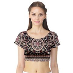 Vectorized Traditional Rug Style Of Traditional Patterns Short Sleeve Crop Top (tight Fit)