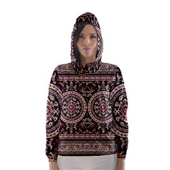 Vectorized Traditional Rug Style Of Traditional Patterns Hooded Wind Breaker (women)