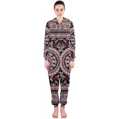 Vectorized Traditional Rug Style Of Traditional Patterns Hooded Jumpsuit (Ladies)