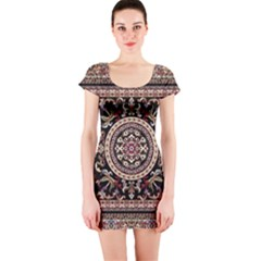 Vectorized Traditional Rug Style Of Traditional Patterns Short Sleeve Bodycon Dress
