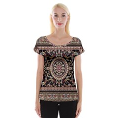 Vectorized Traditional Rug Style Of Traditional Patterns Women s Cap Sleeve Top
