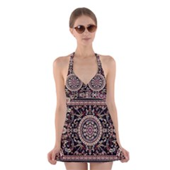 Vectorized Traditional Rug Style Of Traditional Patterns Halter Swimsuit Dress