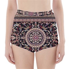 Vectorized Traditional Rug Style Of Traditional Patterns High Waisted Bikini Bottoms