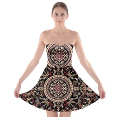 Vectorized Traditional Rug Style Of Traditional Patterns Strapless Bra Top Dress
