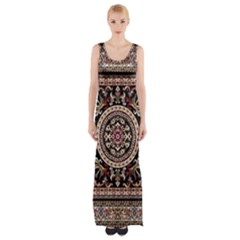 Vectorized Traditional Rug Style Of Traditional Patterns Maxi Thigh Split Dress