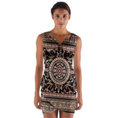 Vectorized Traditional Rug Style Of Traditional Patterns Wrap Front Bodycon Dress