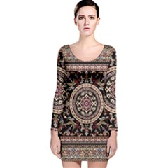 Vectorized Traditional Rug Style Of Traditional Patterns Long Sleeve Velvet Bodycon Dress
