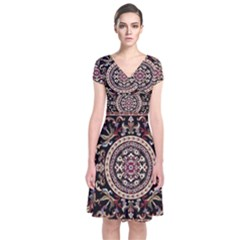 Vectorized Traditional Rug Style Of Traditional Patterns Short Sleeve Front Wrap Dress