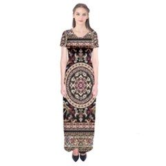 Vectorized Traditional Rug Style Of Traditional Patterns Short Sleeve Maxi Dress