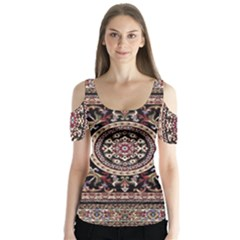 Vectorized Traditional Rug Style Of Traditional Patterns Butterfly Sleeve Cutout Tee