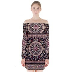 Vectorized Traditional Rug Style Of Traditional Patterns Long Sleeve Off Shoulder Dress