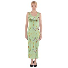 Brass Fitted Maxi Dress