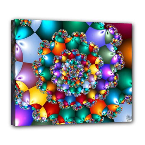 Rainbow Spiral Beads Deluxe Canvas 24  x 20