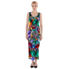 Rainbow Spiral Beads Fitted Maxi Dress