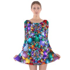 Rainbow Spiral Beads Long Sleeve Velvet Skater Dress