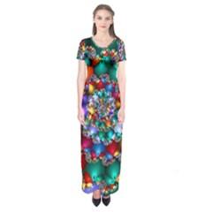 Rainbow Spiral Beads Short Sleeve Maxi Dress