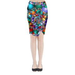 Rainbow Spiral Beads Midi Wrap Pencil Skirt