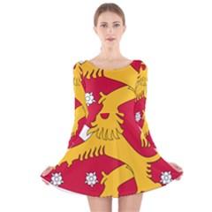 Coat of Arms of Finland Long Sleeve Velvet Skater Dress