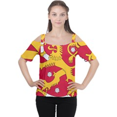 Coat of Arms of Finland Women s Cutout Shoulder Tee
