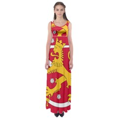 Coat of Arms of Finland Empire Waist Maxi Dress