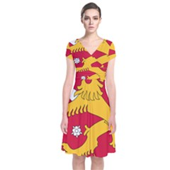 Coat of Arms of Finland Short Sleeve Front Wrap Dress