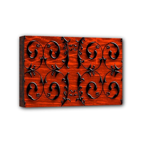 3d Metal Pattern On Wood Mini Canvas 6  X 4