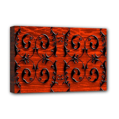 3d Metal Pattern On Wood Deluxe Canvas 18  x 12