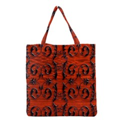 3d Metal Pattern On Wood Grocery Tote Bag