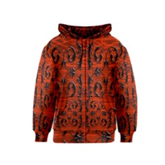 3d Metal Pattern On Wood Kids  Zipper Hoodie
