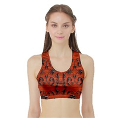 3d Metal Pattern On Wood Sports Bra With Border