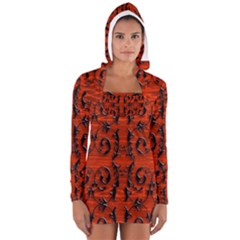 3d Metal Pattern On Wood Women s Long Sleeve Hooded T Shirt