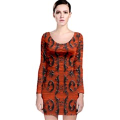 3d Metal Pattern On Wood Long Sleeve Velvet Bodycon Dress