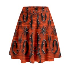 3d Metal Pattern On Wood High Waist Skirt